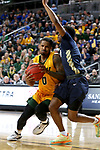 SIOUX FALLS, SD - MARCH 8: Vinnie Shahid #0 of the North Dakota State Bison drives to the basket against the Oral Roberts Golden Eagles at the 2020 Summit League Basketball in Sioux Falls, SD. (Photo by Dave Eggen/Inertia)