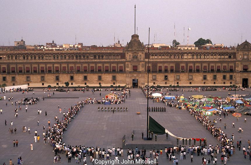 Daily flag-lowering ceremony in the Zocalo or Plaza de la Constitucion, Mexico City