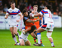 Picture by Alex Whitehead/SWpix.com - 27/04/2018 - Rugby League - Betfred Super League - Castleford Tigers v Wakefield Trinity - Mend-A-Hose Jungle, Castleford, England - Castleford's Jesse Sene-Lefao is tackled by Wakefield's Chris Annakin and Pauli Pauli.