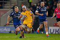 8th November 2019; AJ Bell Stadium, Salford, Lancashire, England; English Premiership Rugby, Sale Sharks versus Coventry Wasps; Nizaam Carr of Wasps runs with the ball - Editorial Use