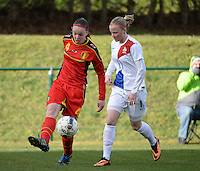 20140209 - TUBIZE , BELGIUM : Belgian Tine De Caigny (l) pictured with Dutch Simone Kets (r) during a friendly soccer match between the Under 19 ( U19) women teams of Belgium and The Netherlands , Sunday 9 February 2014 in Tubize . PHOTO DAVID CATRY