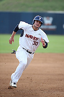 Nick Costello (30) of the Pepperdine Waves runs the bases during a game against the Texas A&M Aggies at Eddy D. Field Stadium on February 26, 2016 in Malibu, California. Pepperdine defeated Texas A&M, 7-5. (Larry Goren/Four Seam Images)