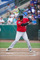 Billings Mustangs shortstop Carlos Rivero (23) at bat during a Pioneer League game against the Ogden Raptors at Lindquist Field on August 17, 2018 in Ogden, Utah. The Billings Mustangs defeated the Ogden Raptors by a score of 6-3. (Zachary Lucy/Four Seam Images)