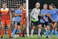 Piscataway, NJ - Saturday July 09, 2016: Caity Heap, Christie Rampone, Megan Crosson, Bianca Henninger, Leah Galton, Erica Skroski during a regular season National Women's Soccer League (NWSL) match between Sky Blue FC and the Houston Dash at Yurcak Field.