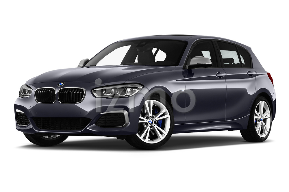 Stock pictures of low aggressive front three quarter view of a 2018 BMW 1 Series Base 5 Door Hatchback