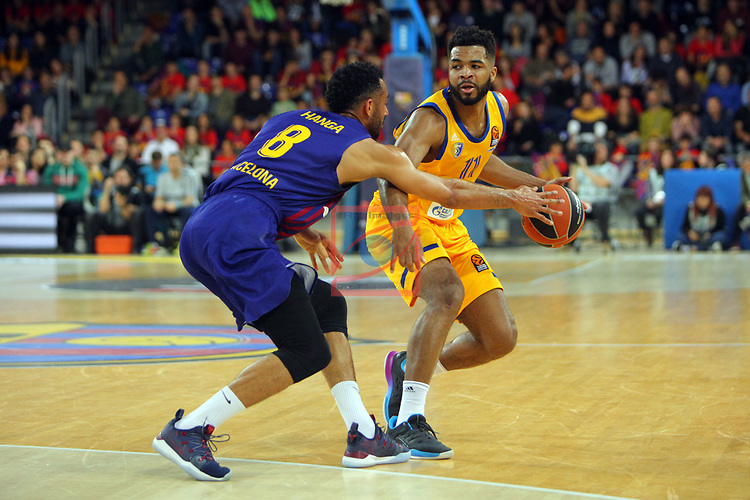 Turkish Airlines Euroleague 2018/2019. <br /> Regular Season-Round 30.<br /> FC Barcelona Lassa vs Khimki Moscow Region: 83-74. <br /> Adam Hanga vs Andrew Harrison.