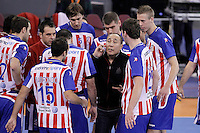 BM Atletico de Madrid's coach Talant Dujshebaev with his players in time out during ASOBAL League match.December 08 ,2012. (ALTERPHOTOS/Acero) /NortePhoto