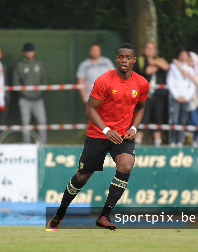 20160713 - DOUAI , FRANCE : RC Lens' Wylan Cyprien pictured during a friendly game between Racing Club de LENS and Waasland Beveren during the preparations for the 2016-2017 season , Wednesday 13 July 2016 ,  PHOTO Dirk Vuylsteke | Sportpix.Be