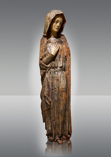 Virgin Mary  Gothic sculpture from a Calvery scene. Polychrome wood carving with remains of varnished metal plate. National Museum of Catalan Art, Barcelona, Spain, inv no: 004390-CJT.