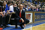 30 October 2015: Florida Southern head coach Michael Donnelly. The Duke University Blue Devils hosted the Florida Southern College Moccasins at Cameron Indoor Stadium in Durham, North Carolina in a 2015-16 NCAA Men's Basketball Exhibition game. Duke won the game 112-68.