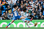 Marcelo Vieira Da Silva (R) of Real Madrid competes for the ball with Juan Francisco Moreno Fuertes, Juanfran, of RC Deportivo La Coruna during the La Liga 2017-18 match between Real Madrid and RC Deportivo La Coruna at Santiago Bernabeu Stadium on January 21 2018 in Madrid, Spain. Photo by Diego Gonzalez / Power Sport Images