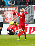 Nederland, Enschede, 4 november 2012.Eredivisie.Seizoen 2012-2013.FC Twente-Feyenoord .Luc Castaignos (r.) van FC Twente juicht nadat hij de 2-0 heeft gescoord.