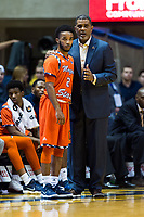 Morgantown, WV - NOV 18, 2017: Morgan State Bears head coach Todd Bozeman talks with Morgan State Bears guard Martez Cameron (2) on the sideline during game between West Virginia and Morgan State at WVU Coliseum Morgantown, West Virginia. (Photo by Phil Peters/Media Images International)