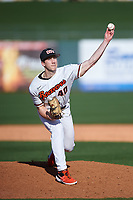 Oregon State Beavers relief pitcher Andrew Walling (40) delivers a pitch during an NCAA game against the New Mexico Lobos at Surprise Stadium on February 14, 2020 in Surprise, Arizona. (Zachary Lucy / Four Seam Images)