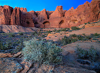 Unusual sandstone rock formations make up the landscape at Arches National Park, Utah