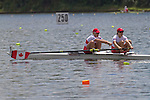 Rowing, Canada, Canadian Women's pair, Krista Guloien, Andreanne Morin, stroke, 2010 FISA World Rowing Championships, Lake Karapiro, Hamilton, New Zealand, heat, Monday 1 November,
