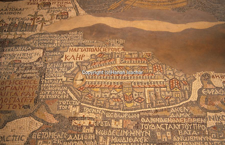Jordan, the 6th Century Byzantine mosaic Madaba Map.The part depicting Jerusalem&#xA;<br />