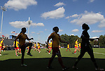 23 October 2011: Maryland players warm up before the game. The Duke University Blue Devils defeated the University of Maryland Terrapins 3-1 at Koskinen Stadium in Durham, North Carolina in an NCAA Division I Women's Soccer game.