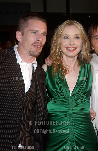 Actress JULIE DELPY & actor ETHAN HAWKE at the Los Angeles premiere of their new movie Before Sunset..June 23, 2004