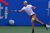 Washington, DC - July 30, 2019: Karen Khachanov plays a singles match against Jo-Wilfried Tsonga at the William Fitzgerald stadium in Rock Creek Park, Washington, DC during the Citi Open tennis tournament July 30, 2019.  (Photo by Don Baxter/Media Images International)