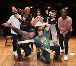 "Giuseppe Bausilio, Terrance Spencer, Anthony Lee Medina, Thayne Jasperson, Lauren Boyd, Jennie Harney-Fleming and Deon'te Goodman during the eduHAM Q & A before The Rockefeller Foundation and The Gilder Lehrman Institute of American History sponsored High School student #EduHam matinee performance of ""Hamilton"" at the Richard Rodgers Theatre on November 20, 2019 in New York City."