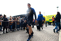 Charlie Ewels and the rest of the Bath Rugby team arrive for the match. Heineken Champions Cup match, between Wasps and Bath Rugby on October 20, 2018 at the Ricoh Arena in Coventry, England. Photo by: Patrick Khachfe / Onside Images
