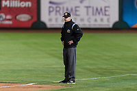 Umpire Kyle McCrady during a Pacific Coast League game between the Omaha Storm Chasers and the Memphis Redbirds on April 26, 2019 at Werner Park in Omaha, Nebraska. Memphis defeated Omaha 7-3. (Zachary Lucy/Four Seam Images)