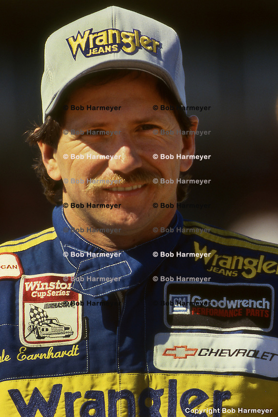 DAYTONA BEACH, FL - FEBRUARY 15: Dale Earnhardt waits to drive during practice for the Daytona 500 on February 15, 1987, at the Daytona International Speedway in Daytona Beach, Florida.