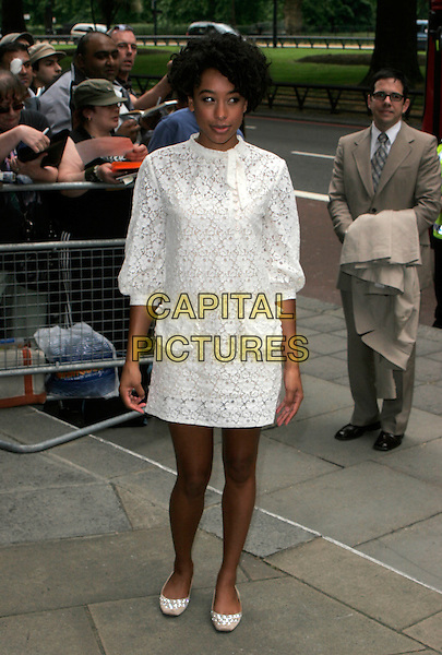CORINNE BAILEY RAE.Arrivals at the Ivor Novello Awards, Grosvenor House, London, England..May 24th, 2007.full length white dress lace .CAP/AH.©Adam Houghton/Capital Pictures