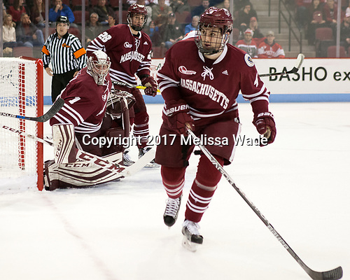 Marc Hetnik (UMass - 4) - The Boston University Terriers defeated the University of Massachusetts Minutemen 3-1 on Friday, February 3, 2017, at Agganis Arena in Boston, Massachusetts.The Boston University Terriers defeated the visiting University of Massachusetts Amherst Minutemen 3-1 on Friday, February 3, 2017, at Agganis Arena in Boston, MA.