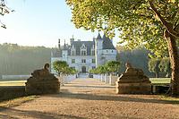 France, Indre-et-Loire (37), Chenonceaux, château et jardins de Chenonceau, entrée de l'avant-cour avec deux sphinx en pierre, provenant du château de Chanteloup à Amboise et caisses d'agrumes