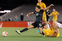 June 7, 2016: SARAH GREGORIUS (10) of New Zealand kicks the ball during an international friendly match between the Australian Matildas and the New Zealand Football Ferns as part of the teams' preparation for the Rio Olympic Games at Etihad Stadium, Melbourne. Photo Sydney Low