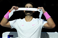 15th November 2019; 02 Arena. London, England; Nitto ATP Tennis Finals; Rafael Nadal (Spain) changes his head band during the break against Stefanos Tsitsipas (Greece) - Editorial Use