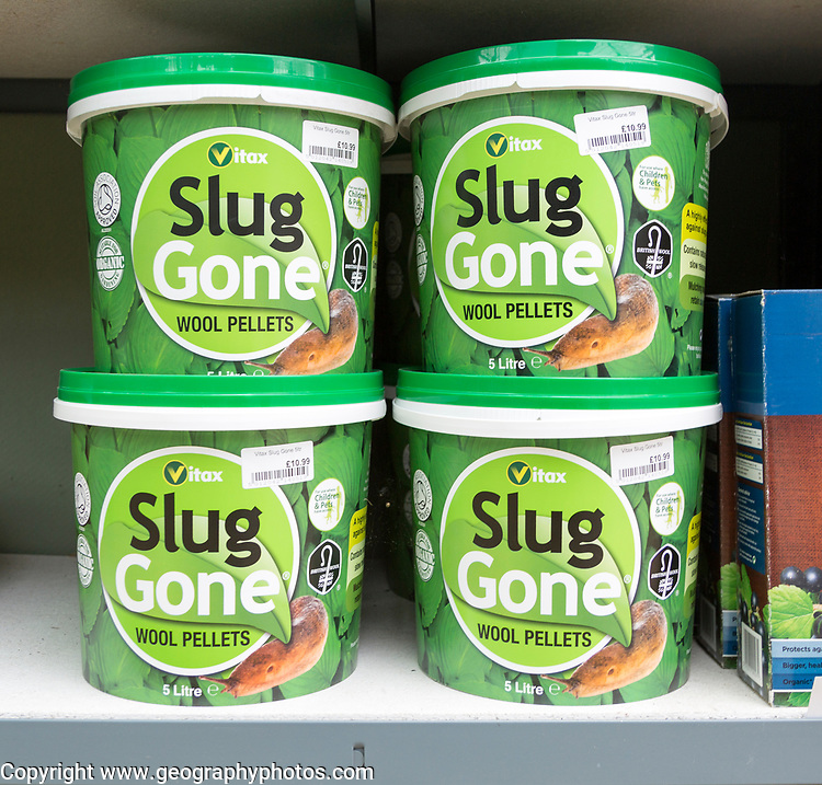 Slug Gone wool pellets on sale, The Walled garden plant nursery, Benhall, Suffolk, England, UK