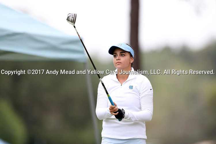 CHAPEL HILL, NC - OCTOBER 14: North Carolina's Clementina Rodriguez (VEN) on the 10th tee. The second round of the Ruth's Chris Tar Heel Invitational Women's Golf Tournament was held on October 14, 2017, at the UNC Finley Golf Course in Chapel Hill, NC.