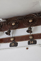 The bells connecting each room to the servants quarters still hang in the staircase hall, their metal coils now rusty and draped with cobwebs from absence of use