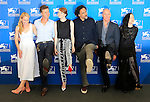 """From left : US actress Amy Ryan, US actor Edward Norton, US actress Emma Stone, Mexican director Alejandro Inarritu, US actor Michael Keaton and British actress Andrea Riseborough pose during the photocall of the movie """"Birdman or the Unexpected Virtue of Ignorance"""" presented in competition on the opening day of the 71st Venice Film Festival on August 27, 2014 at Venice Lido."""