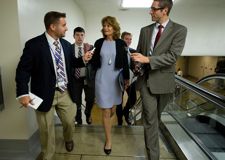 UNITED STATES - July 18: Sen. Lisa Murkowski, R-AK., makes her way to the Senate policy luncheons through the Senate subway in the U.S. Capitol on July 18, 2013. (Photo By Douglas Graham/CQ Roll Call)
