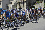 The peleton pass through the medieval village of Salles Sous Bois during the penultimate Stage 19 to Mont Ventoux during the Tour de France 2009 running 167km from Montelimar to Mont Ventoux, France. 25th July 2009 (Photo by Eoin Clarke/NEWSFILE)