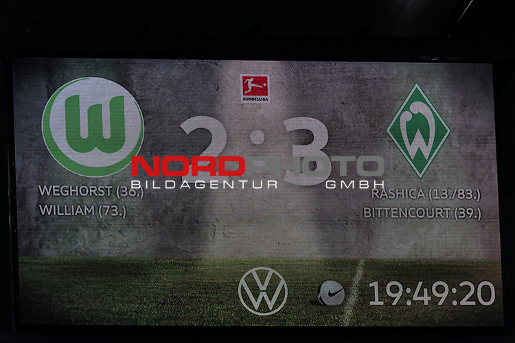 01.12.2019, Volkswagen Arena, Wolfsburg, GER, 1.FBL, VfL Wolfsburg vs SV Werder Bremen<br /> <br /> DFL REGULATIONS PROHIBIT ANY USE OF PHOTOGRAPHS AS IMAGE SEQUENCES AND/OR QUASI-VIDEO.<br /> <br /> im Bild / picture shows<br /> Anzeigetafel / Endstand, Feature, <br /> <br /> Foto © nordphoto / Ewert