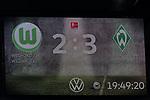 01.12.2019, Volkswagen Arena, Wolfsburg, GER, 1.FBL, VfL Wolfsburg vs SV Werder Bremen<br /> <br /> DFL REGULATIONS PROHIBIT ANY USE OF PHOTOGRAPHS AS IMAGE SEQUENCES AND/OR QUASI-VIDEO.<br /> <br /> im Bild / picture shows<br /> Anzeigetafel / Endstand, Feature, <br /> <br /> Foto © nordphoto / Ewert