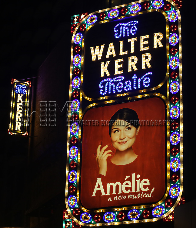 Theatre Marquee the Broadway Opening Night Performance of 'Amelie' at the Walter Kerr Theatre on April 3, 2017 in New York City.