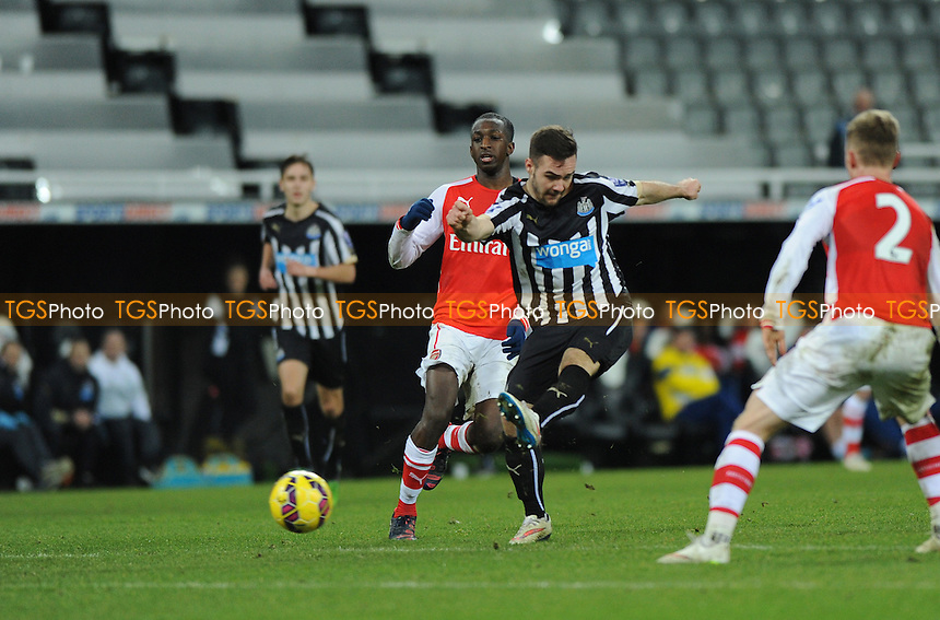 Adam Armstrong Shoots - Newcastle United Under-21 vs Arsenal Under-21 - Barclays Under-21 Premier League Football at St James Park, Newcastle United FC - 09/02/15 - MANDATORY CREDIT: Steven White/TGSPHOTO - Self billing applies where appropriate - contact@tgsphoto.co.uk - NO UNPAID USE