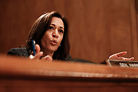 United States Senator Kamala Harris (Democrat of California) questions officials from the Department of Justice and the Department of Homeland Security during the US Senate Committee on Homeland Security and Government Affairs hearing on April 9, 2019 discussing unprecedented migration at the Southern Border of the United States.<br /> Credit: Stefani Reynolds / CNP/AdMedia