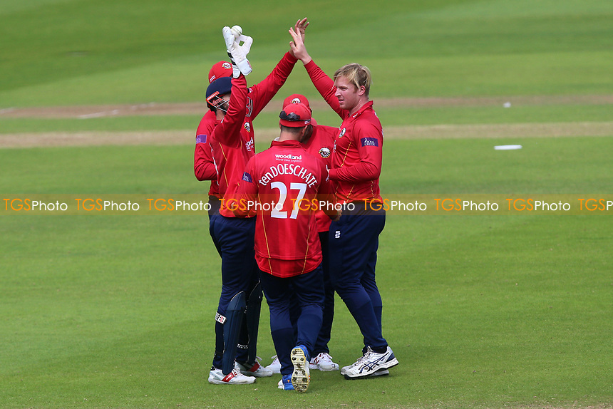Simon Harmer of Essex is congratulated by his team mates after taking the wicket of Steven Davies during Somerset vs Essex Eagles, Royal London One-Day Cup Cricket at The Cooper Associates County Ground on 14th May 2017