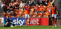 Blackpool's Ben Heneghan, Jak Alnwick and Curtis Tilt react to going 2-0 down<br /> <br /> Photographer Alex Dodd/CameraSport<br /> <br /> The EFL Sky Bet League One - Blackpool v MK Dons  - Saturday September 14th 2019 - Bloomfield Road - Blackpool<br /> <br /> World Copyright © 2019 CameraSport. All rights reserved. 43 Linden Ave. Countesthorpe. Leicester. England. LE8 5PG - Tel: +44 (0) 116 277 4147 - admin@camerasport.com - www.camerasport.com