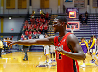 Stony Brook defeats UAlbany  69-60 in the America East Conference tournament quaterfinals at the  SEFCU Arena, Mar. 3, 2018. Tyrell Sturdivant (#12) celebrates the win.
