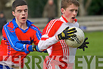 Seán O Bambaire (Pobalscoil Chorca Dhuibne) in action with Mike Pierce (KIC), on Wednesday in the Colleges under 16 1/2 Bruan Cup, at Austin Stack GAA Grounds Connolly Park, Tralee on Wednesday.
