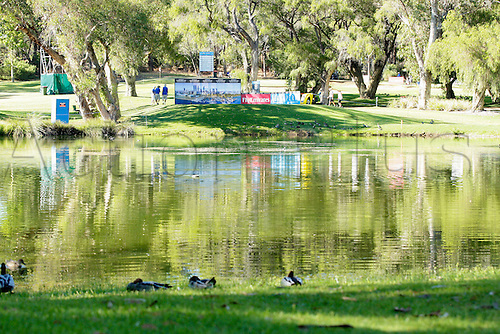 27.02.2016. Perth, Australia. ISPS HANDA Perth International Golf. The Par 3 Eigth hole at Lake Karrinyup Golf Course.
