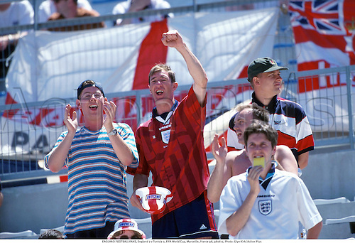 ENGLAND FOOTBALL FANS, England 2 v Tunisia 0, FIFA World Cup, Marseille, France 98, 980615. Photo: Glyn Kirk/Action Plus...1998.soccer.flags.crowd.crowds.supporters.fans.spectators